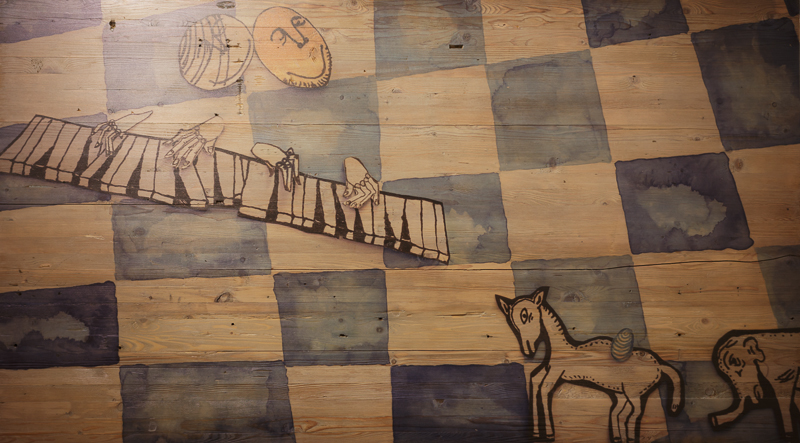 Art Print on Wood - still from the video animation Friendship